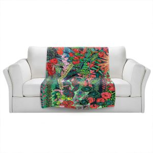 Artistic Sherpa Pile Blankets | Sonia Begley - Tropical Night Jungle | Abstract Floral Flowers