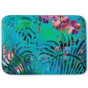 Decorative Bathroom Mats | Sonia Begley - Tropical Palms Blue Green | Jungle Flowers