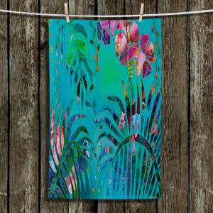 Unique Bathroom Towels | Sonia Begley - Tropical Palms Blue Green | Jungle Flowers