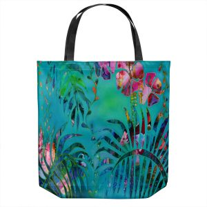 Unique Shoulder Bag Tote Bags | Sonia Begley - Tropical Palms Blue Green | Jungle Flowers