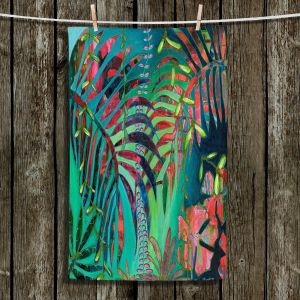 Unique Bathroom Towels | Sonia Begley - Tropical Palms Turquoise Green | Jungle Flowers