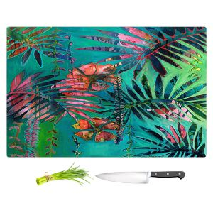 Artistic Kitchen Bar Cutting Boards | Sonia Begley - Tropical Paradise Palms Orange Green | Jungle Flowers
