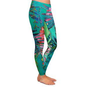 Casual Comfortable Leggings | Sonia Begley - Tropical Paradise Palms Orange Green | Jungle Flowers