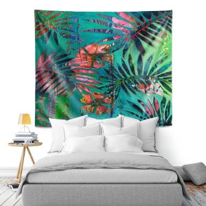 Artistic Wall Tapestry   Sonia Begley - Tropical Paradise Palms Orange Green   Jungle Flowers