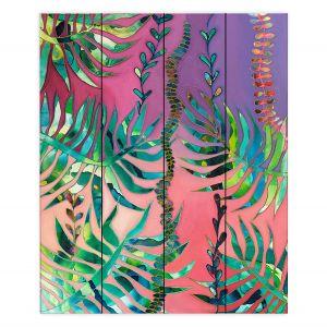 Decorative Wood Plank Wall Art | Sonia Begley - Tropical Paradise Palms Sunset Pink | Jungle Flowers