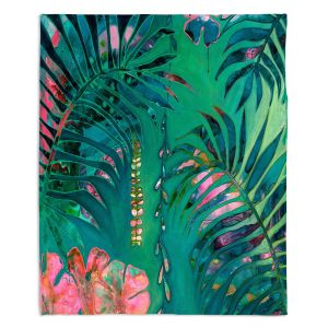 Decorative Fleece Throw Blankets | Sonia Begley - Tropical Paradise Turquoise | Jungle Flowers