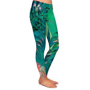 Casual Comfortable Leggings | Sonia Begley - Tropical Paradise Turquoise | Jungle Flowers