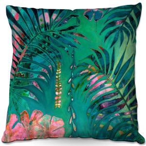 Decorative Outdoor Patio Pillow Cushion | Sonia Begley - Tropical Paradise Turquoise | Jungle Flowers