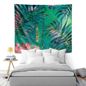 Artistic Wall Tapestry | Sonia Begley - Tropical Paradise Turquoise | Jungle Flowers