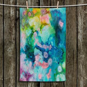 Unique Bathroom Towels | Sonia Begley - Underwater Coral Rainbow | Abstract Colorful