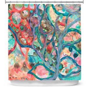 Premium Shower Curtains | Sonia Begley - Underwater Coral Sunset Orange | Abstract Colorful