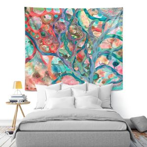 Artistic Wall Tapestry | Sonia Begley - Underwater Coral Sunset Orange | Abstract Colorful