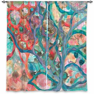 Decorative Window Treatments | Sonia Begley - Underwater Coral Sunset Orange | Abstract Colorful