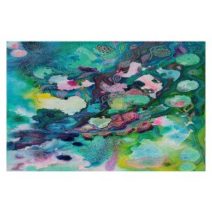 Decorative Floor Covering Mats | Sonia Begley - Underwater Garden Blue Green 1 | Abstract Colorful