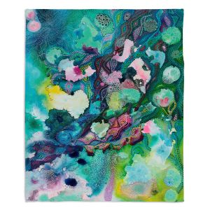 Decorative Fleece Throw Blankets | Sonia Begley - Underwater Garden Blue Green 1 | Abstract Colorful