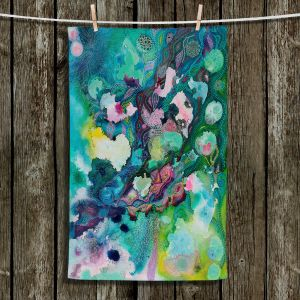 Unique Bathroom Towels | Sonia Begley - Underwater Garden Blue Green 1 | Abstract Colorful