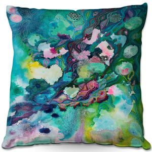 Throw Pillows Decorative Artistic | Sonia Begley - Underwater Garden Blue Green 1 | Abstract Colorful