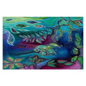 Decorative Floor Covering Mats | Sonia Begley - Underwater Garden Blue Green 2 | Abstract Colorful