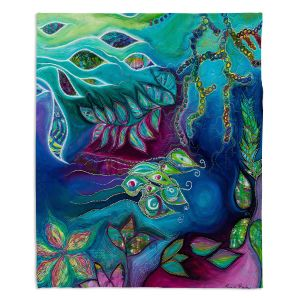 Decorative Fleece Throw Blankets | Sonia Begley - Underwater Garden Blue Green 2 | Abstract Colorful
