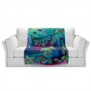 Artistic Sherpa Pile Blankets   Sonia Begley - Underwater Garden Blue Green 2   Abstract Colorful