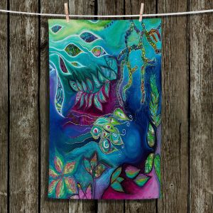 Unique Hanging Tea Towels | Sonia Begley - Underwater Garden Blue Green 2 | Abstract Colorful