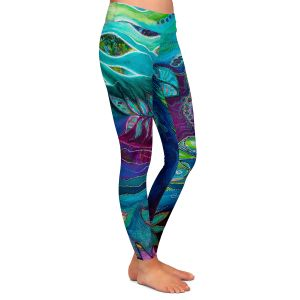 Casual Comfortable Leggings | Sonia Begley - Underwater Garden Blue Green 2 | Abstract Colorful