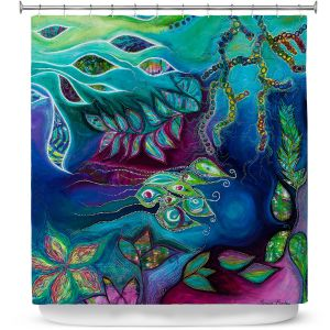 Premium Shower Curtains | Sonia Begley - Underwater Garden Blue Green 2 | Abstract Colorful
