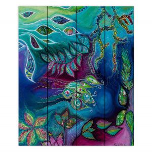 Decorative Wood Plank Wall Art | Sonia Begley - Underwater Garden Blue Green 2 | Abstract Colorful