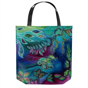 Unique Shoulder Bag Tote Bags | Sonia Begley - Underwater Garden Blue Green 2 | Abstract Colorful