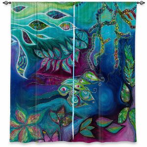 Decorative Window Treatments | Sonia Begley - Underwater Garden Blue Green 2 | Abstract Colorful