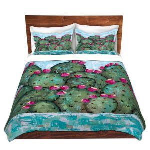 Artistic Duvet Covers and Shams Bedding | Sue Allemand - A Prickly Nature | Cactus Blooming