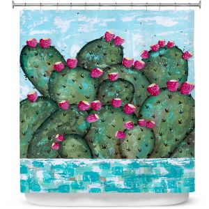 Premium Shower Curtains | Sue Allemand - A Prickly Nature | Cactus Blooming