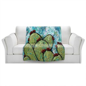 Artistic Sherpa Pile Blankets | Sue Allemand - Along the Coast | Cactus Blooming