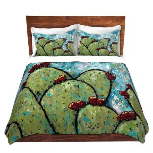 Artistic Duvet Covers and Shams Bedding | Sue Allemand - Along the Coast | Cactus Blooming