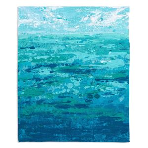 Decorative Fleece Throw Blankets | Sue Allemand - Coastal Walk I | Ocean Abstract