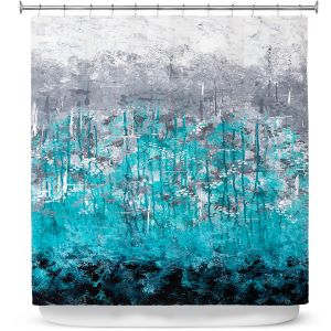 Premium Shower Curtains | Sue Allemand - Dripping Turquoise | Ocean Abstract