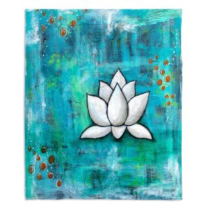 Artistic Sherpa Pile Blankets | Sue Allemand - Lotus in Blue | abstract lotus flower