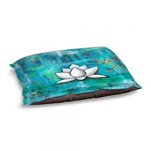 Decorative Dog Pet Beds | Sue Allemand - Lotus in Blue | abstract lotus flower