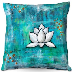 Throw Pillows Decorative Artistic | Sue Allemand - Lotus in Blue | abstract lotus flower