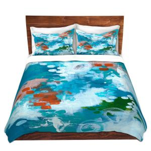 Artistic Duvet Covers and Shams Bedding | Sue Allemand - Popping Orange | Colorful abstract