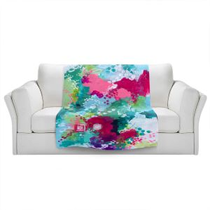 Artistic Sherpa Pile Blankets | Sue Allemand - Right Coast | Colorful abstract