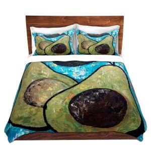 Artistic Duvet Covers and Shams Bedding | Sue Allemand - Sustenance | Avocado fruit still life