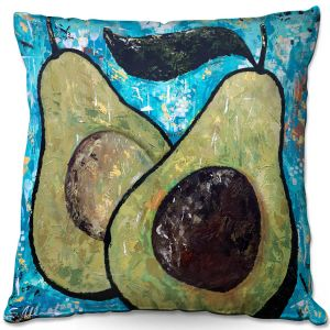 Throw Pillows Decorative Artistic | Sue Allemand - Sustenance | Avocado fruit still life