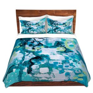 Artistic Duvet Covers and Shams Bedding | Sue Allemand - Turbulent Seas 1 | Colorful abstract ocean