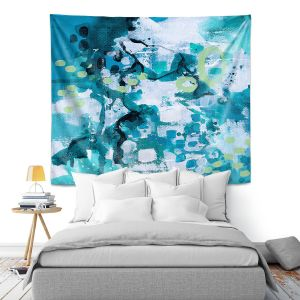 Artistic Wall Tapestry | Sue Allemand - Turbulent Seas 1 | Colorful abstract ocean