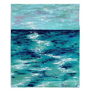 Decorative Fleece Throw Blankets | Sue Allemand - Where my Mind Goes | Colorful abstract ocean