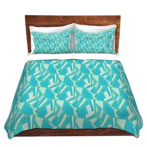 Artistic Duvet Covers and Shams Bedding | Sue Brown - Gervay Garden 10 | Pattern flower repetition abstract