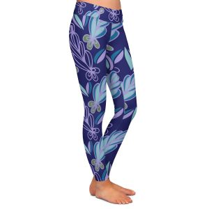 Casual Comfortable Leggings   Sue Brown - Gervay Garden 11   Pattern flower repetition abstract