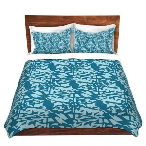 Artistic Duvet Covers and Shams Bedding | Sue Brown - Gervay Garden 6 | Pattern flower repetition abstract