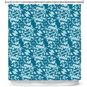 Premium Shower Curtains | Sue Brown - Gervay Garden 6 | Pattern flower repetition abstract